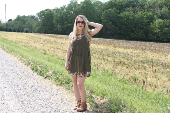 Lauren wearing the Roadtripping tunic.